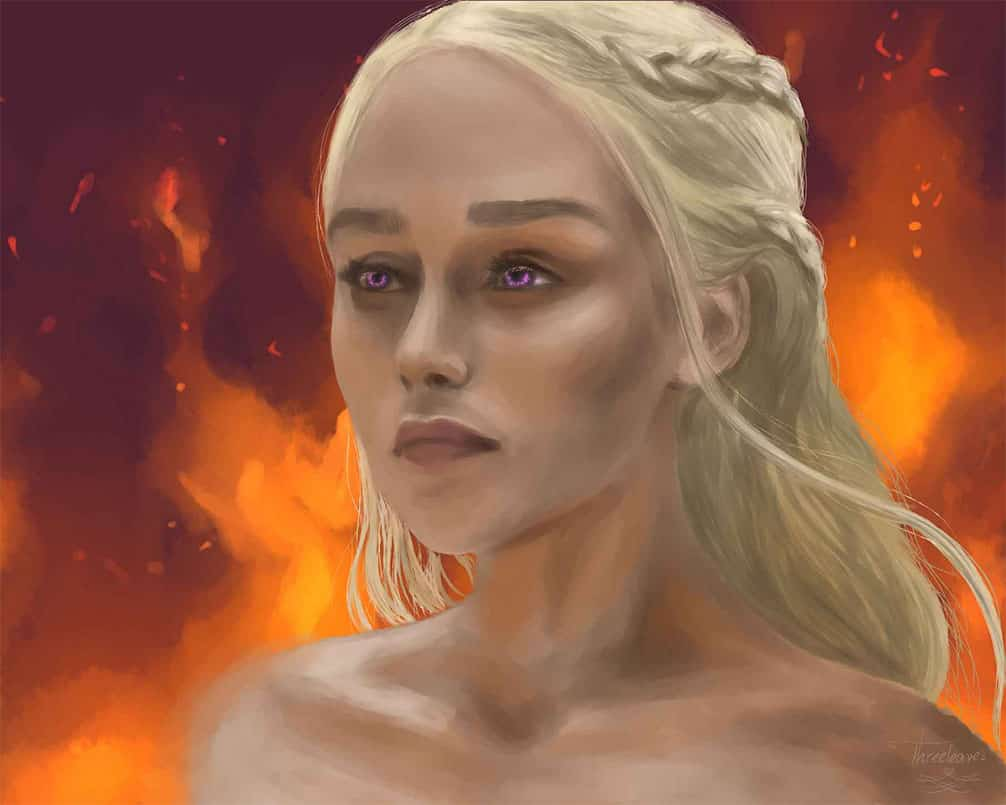 Digital portrait of Daenerys Thargaryen.