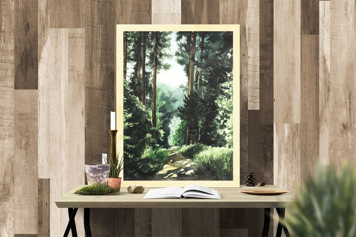 Watercolor of a forest landscape.