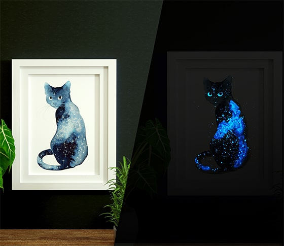 Glow in the dark galaxy watercolor animals.