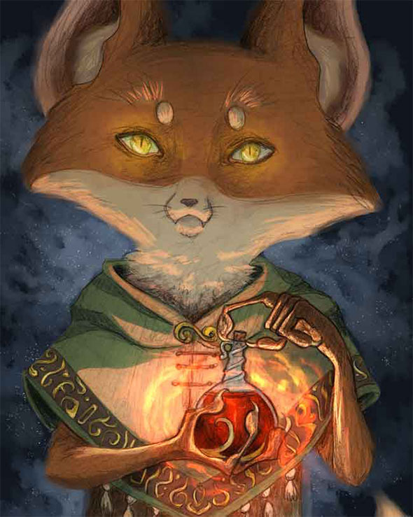 Digital painting of an apothecary fox.