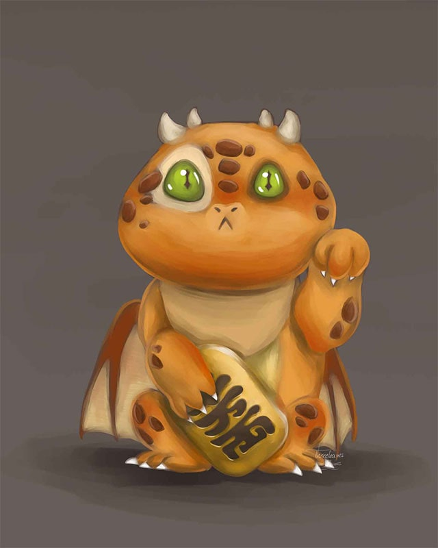 Digital painting of a maneki-dragon.