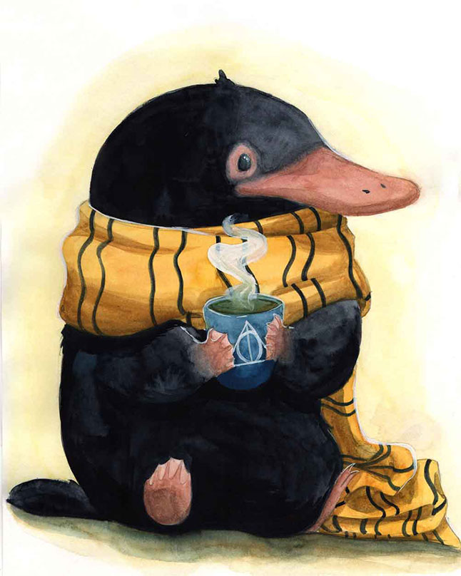 Watercolor paiting of a Niffler.