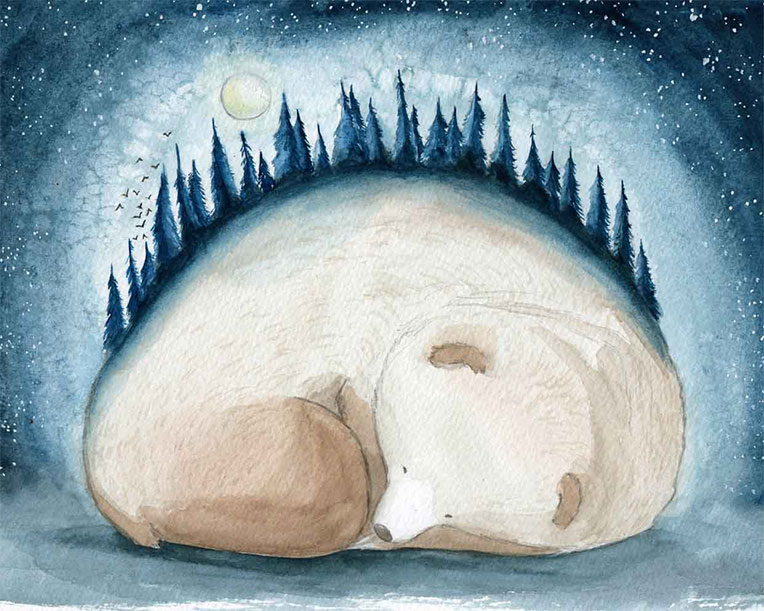 Watercolor painting of a sleeping bear.