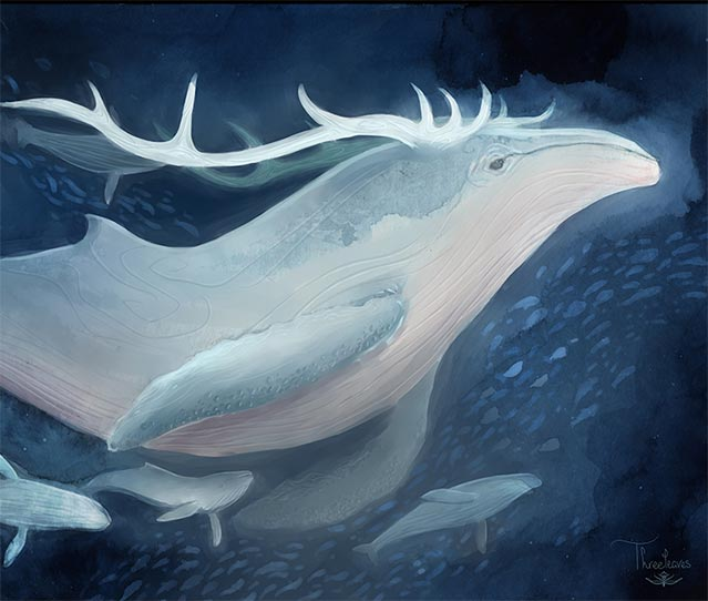 Horned swimming whale.